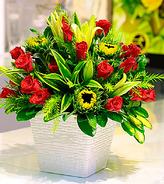 Red & Green Bouquet in Po